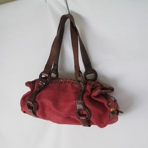 Fossil Hobo Purse Woven Red